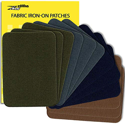 ZEFFFKA Premium Quality Fabric Iron On Patches Deep Blue Gray Brown Khaki Green 12 Pieces 100% Cotton Repair Kit 3