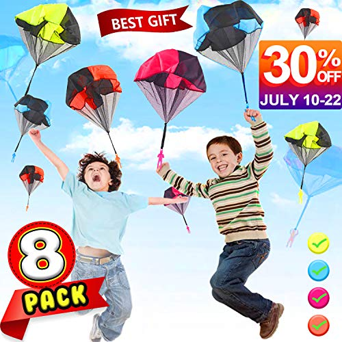 Camlinbo Parachute Toy-8 Pack Tangle Free Throwing Hand Throw Soldiers Parachute Man, Outdoor Children's Flying Toys for Kids Boys Girls Toddler No Battery nor Assembly Required ()
