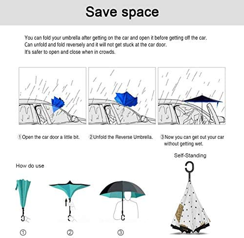 パイレーツ・フルーツ・ゴールド ユニセックス二重層防水ストレート傘車逆折りたたみ傘C形ハンドル付き