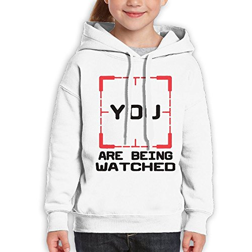 Price comparison product image FDFAF Teenager Youth YOU ARE WATCHED Hip-Hop Vintage Hoodie Hooded Sweatshirt L White