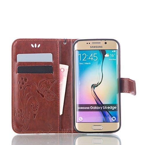 Funda Samsung Galaxy S6 EDGE OuDu Carcasa de Billetera Casco Patrón de Gofrado Caja Elegante Flor&Mariposa Funda PU Cuero Carcasa Suave Protectora con Correas de Teléfono Funda Arbol Flip Wallet Case  Marrón