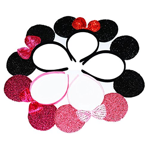 (12pcs Mickey Minnie Mouse Costume Deluxe Glitter Ears Headband Red Rose Pink Sequin Bow Boys Girls Birthday Party Hairs Accessories Baby Shower Headwear Halloween Favors Decorations (All Sequin)
