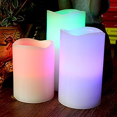 Sunface Flickering Candles Wax Led Flameless Candles Multi Color Remote Battery Operated Romantic Seasonal Celebration Candles Set of 3 (Not included Batterie)