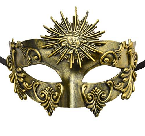 KEFAN Greek Roman Masquerade Mask Halloween Mask Venetian Mardi Gras Mask for Men (Antique Gold) -