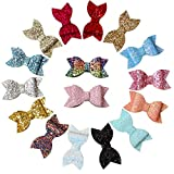 YanJie Glitter Butterfly Girls hair Clips - 16 Pack Mixed Colorful Sparkle Girls Hair Bow Clips 3.5''