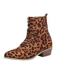 yoyoiop Women Fashion Zipper Ankle Boots Western Casual Large Size Scrub Single Boots
