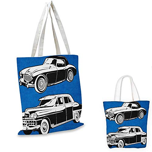 Cars non woven shopping bag Black and White Vintage Cars on Navy Blue Backdrop Classic Old Vehicles fruit shopping bag Navy Blue Black White. 14