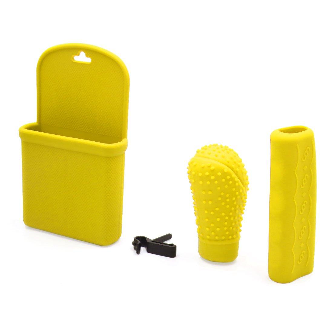 sourcing map 3 in 1 Gelbes Silikon Schaltknauf Handbremse Abdeckung Aufbewahrungsbox fü r Auto DE