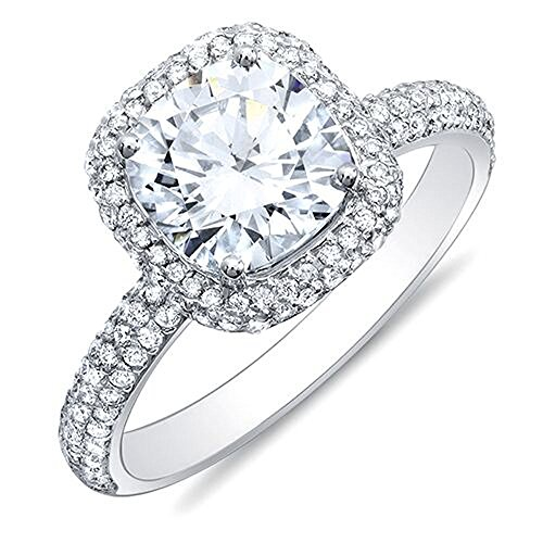 KING OF JEWELRY Natural, Not Enhanced, Cushion Cut Halo 3 Row Micro-Pave Halo Diamond Engagement Ring, G-Color, VS2 Clarity - GIA Certified (platinum, 3.70) ()