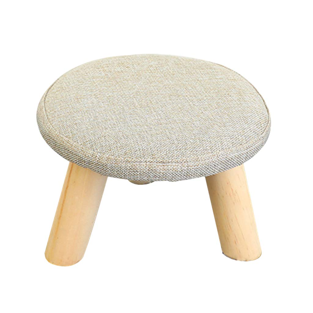 Stool - shoe bench, home sofa bench, linen solid wood coffee table stool, children's stool (Color : D, Size : Round)