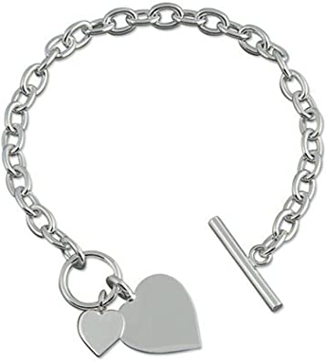 Sterling Silver Link Style Bracelet with Polished Silver Heart Charm T-Bar LOVE