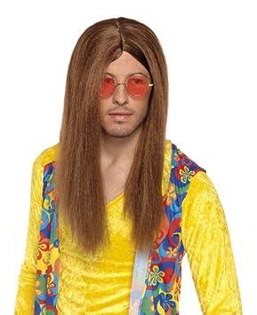 Disfraz peluca marrón para hombre de la peluca de pelo largo hippie