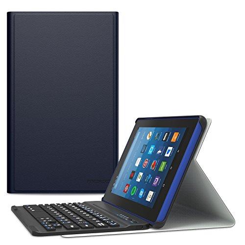MoKo Keyboard Case for All-New Amazon Fire HD 8 Tablet - Wireless Bluetooth Keyboard Cover with Auto Wake / Sleep for Fire HD 8 (7th Gen–2017 Release) / Fire HD 8 (6th Gen-2016 Release), INDIGO