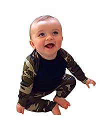 Zhengpin Camouflage Newborn Baby Toddler Tops +Long Pants 2pcs Outfits Set Clothes