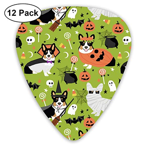 Tri-Colored Corgi Halloween Costumes Mummy Vampire Ghost Just Dog Light Green Classic Celluloid Picks, 12-Pack, For Electric Guitar, Acoustic Guitar, Mandolin, And Bass ()