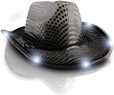 c7e776f3e73 Amazon.com  blinkee LED Flashing Cowboy Hat with Black Sequins by  Toys    Games