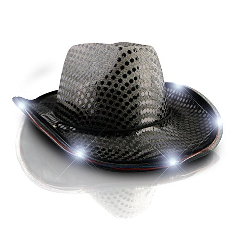 blinkee LED Flashing Cowboy Hat with Black Sequins by]()