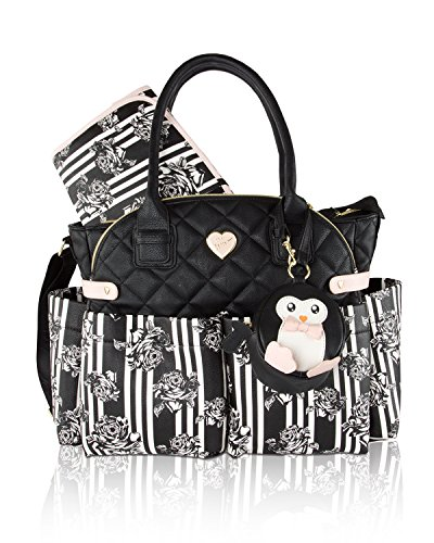 Johnson Leather (Betsey Johnson 3pc Downtown Diaper Bag Baby Shoulder Handbag)