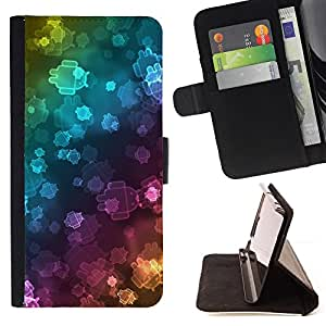 DEVIL CASE - FOR Samsung Galaxy S6 EDGE - Wallpaper Neon Robots Bling Universe - Style PU Leather Case Wallet Flip Stand Flap Closure Cover
