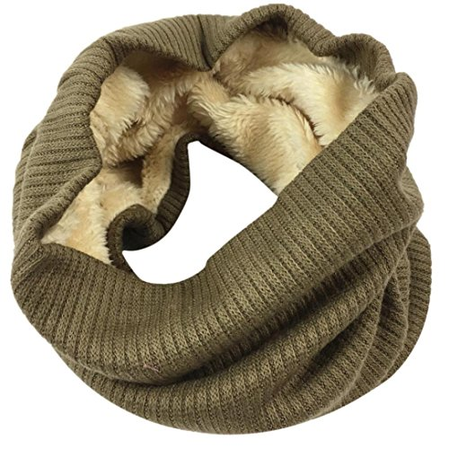(Fheaven Women Men Winter Warm Fur Lined Infinity Cable Knitted Neck Cowl Collar Velvet Scarf Shawl (Coffee))