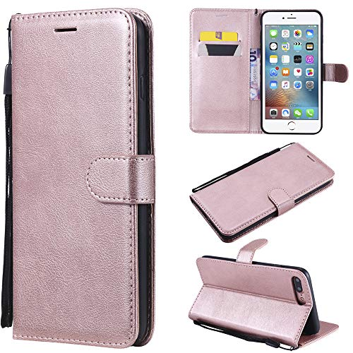 - Scheam Flip Wallet Case Compatible with iPhone 7 Plus iPhone 8 Plus Skin Shock Protection with Card Slots Lightweight Carry Case and Adjustable Stand Rose Gold
