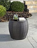 Hanover Gramercy Outdoor Resin Side Table with 24'' Tempered-Glass Top, GRAMERCY1PC-TBL