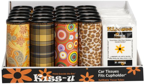 20 Kiss-u Standard Fleet Tissue Tube with 15 Refill Packets, (Pack of 35) - 15 Tissue Holder