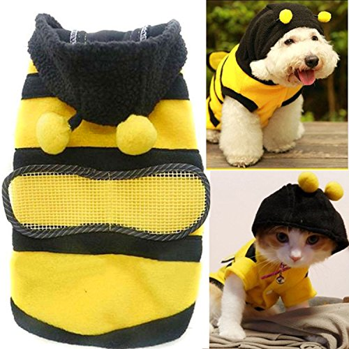 Cute Bee Design Pet Dog Polar Fleece Cloth Clothing Cat Clothes Puppy Hoodie Plush Warm Winter Coat Apparel Costume Accessory for Dogs Pets with Hat Size XS