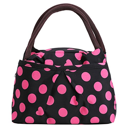 Price comparison product image ZXKE Dots Print Style Women Handbags Lunch Bag Tote (Rose dots black)