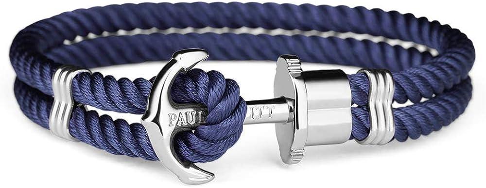 Paul Hewitt Pulsera para Hombre o Mujer PHREP - Pulsera de Nylon Azul Marino con Ancla, Brazalete de Hombre o Mujer con Cuerda de Vela y Ancla, Accesorio de Acero Inoxidable bañado en Plata