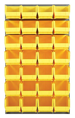 Quantum Storage Louvered Panel - Quantum Storage Systems QLP-3661-240-28 Louvered Panels With 28 Stack Storage Bins Complete Package Yellow