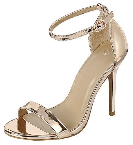 Sandaali Gold Kaistan Nilkkalenkki Pu Avoin Cambridge Rose Stiletto Patentti Solkid Valitse Kärki Korkokenkiä Naisten Yhden wp7TqvX
