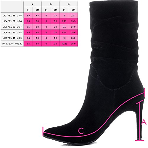 FRUIT Schuhe High Heel Schwarz Stiefeletten Stilettoabsatz Spylovebuy Synthetik FORBIDDEN Wildleder Damen SxH5qW14