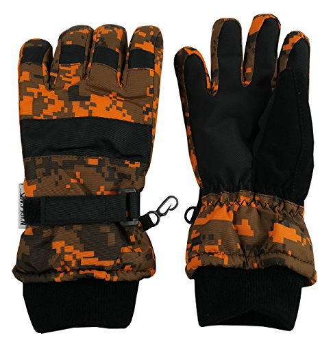 N'Ice Caps Kids Cold Weather Waterproof Camo Print Thinsulate Ski Gloves (10-12 Years, Neon - Print Lined Gloves