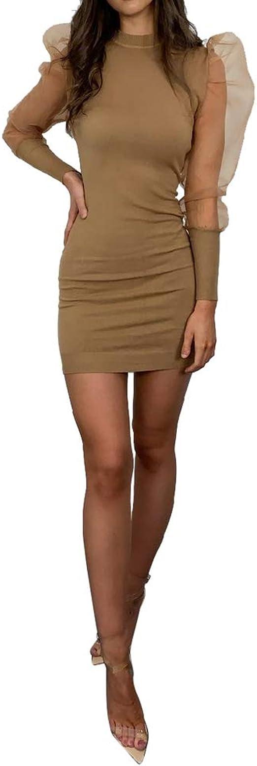 Vestido Ajustado para Mujer Mangas Largas Soplo Vestido Moderno con Arruga Color S/ólido Vestido Mini Cuello Cuadrado para Fiesta Club