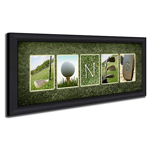(Framed Canvas - Personalized Golf Name Art - Perfect and Unique Customized Gift for The Golfer or Golf Enthusiast)