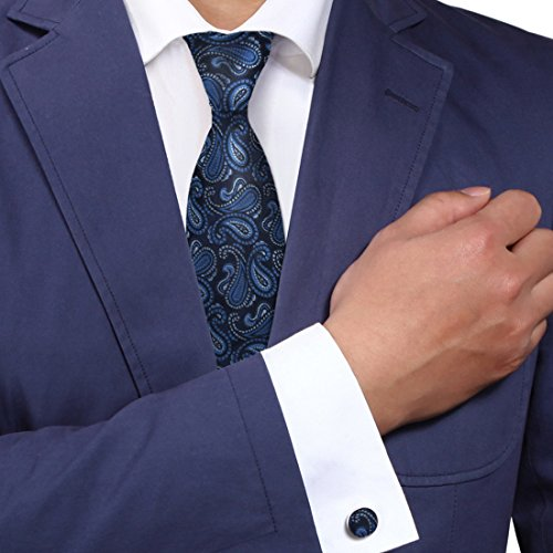 Navy Pattern Neck Ties for Men Blue Paisleys Silk Neck Tie Cufflinks Gift for Men By Y&g A1044 One Size Purple