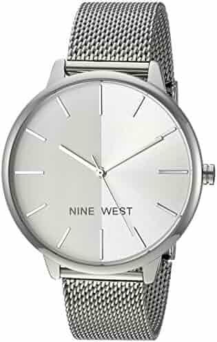 Nine West Women's NW/1981SVSB Silver-Tone Mesh Bracelet Watch
