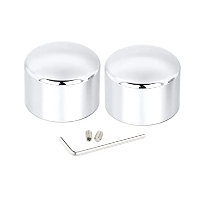 Lalaparts Chrome Front Axle Nut Cover Caps Compatible for Harley Softail Sportster Road King Electra Street Glide 2002-2020: Automotive