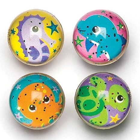 Baker Ross- Pelotas de Goma de Animales Marinos con Purpurina (Pack de 8) para llenar Bolsas de cotillón Infantiles
