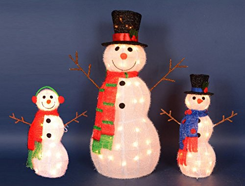 Northlight Set of 3 Lighted Tinsel Snowman Family Christmas Outdoor Decorations 35'' by Northlight (Image #2)