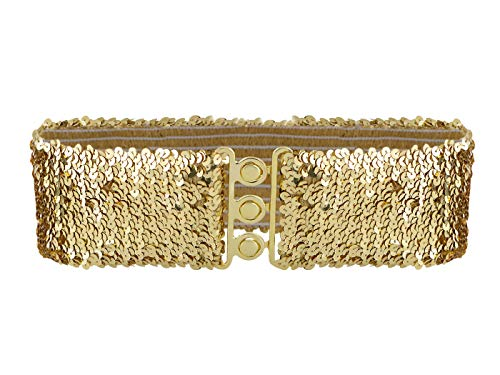 Gold Stretch Belt - Anna-Kaci Women's Sparkly Glitter Sequin Wide Stretch Elastic Belt Accessory,Gold,One Size