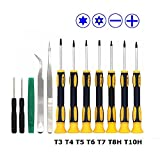 Fixinus 12 in 1 Precision Opening Repair Tool Kit Magnetic Screwdriver Set with Phillips Slotted Torx T3 T4 T5 T6 T7H T8H T10H Tweezers for iPhone Mobile Phone Laptop PC