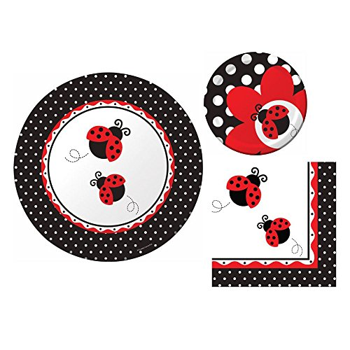Cedar Crate Market Ladybug Fancy Party Bundle for 16 Guests: Dinner Plates, Dessert Plates, and Napkins for $<!--$19.90-->