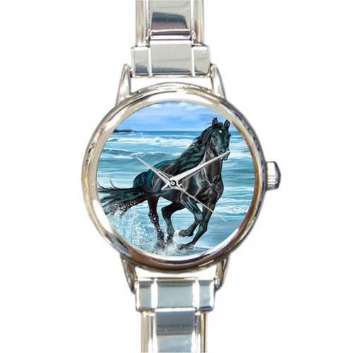 Personalized Watch Cool Horse Running in the Water Round Italian Charm stainless steel Watch by Horse Watch