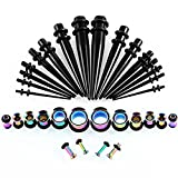 HuaCan 36Pcs Ear Stretchers Kit,18 Pcs Ear Taper Kit Stainless Steel/Acrylic With Double O-ring+ 18Pcs Flesh Tunnel Stainless Steel Screwd/Unscrewd 1.6mm-10mm Silver Black Color Stretching Kit Plug