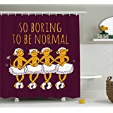 Ambesonne Animal Decor Shower Curtain, Funny Ballerina Dancing Monkeys with So Boring to Be Normal Quote Print, Fabric Bathroom Decor Set with Hooks, 70 Inches, Maroon Merigold
