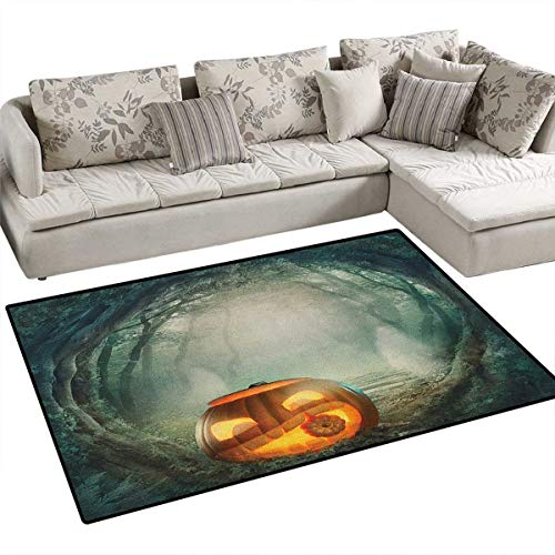 Halloween,Carpet,Drawing of Scary Halloween Pumpkin Enchanted Forest Mystic