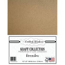 "BROWN KRAFT Cardstock from Cardstock Warehouse - 8.5"" X 11"" - PREMIUM 100 LB. COVER - 25 Sheets"