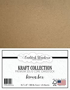 "BROWN KRAFT Recycled Cardstock from Cardstock Warehouse - 8.5"" X 11"" - PREMIUM 100 LB. COVER - 25 Sheets"